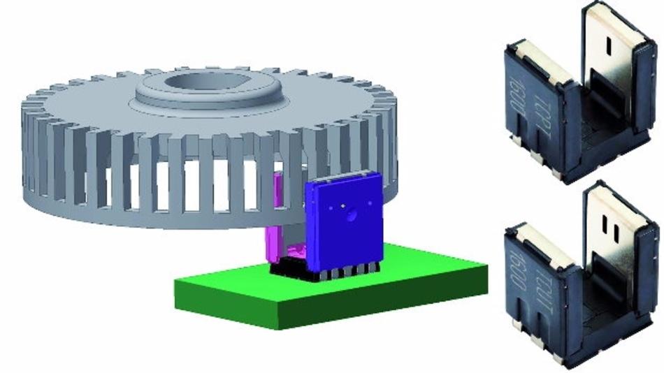 Abb. 3: 1- und 2-Kanal-optischer Encoder TCUT1600X01 (5,5 x 4 x 5,7 mm) und mit Kodierrad
