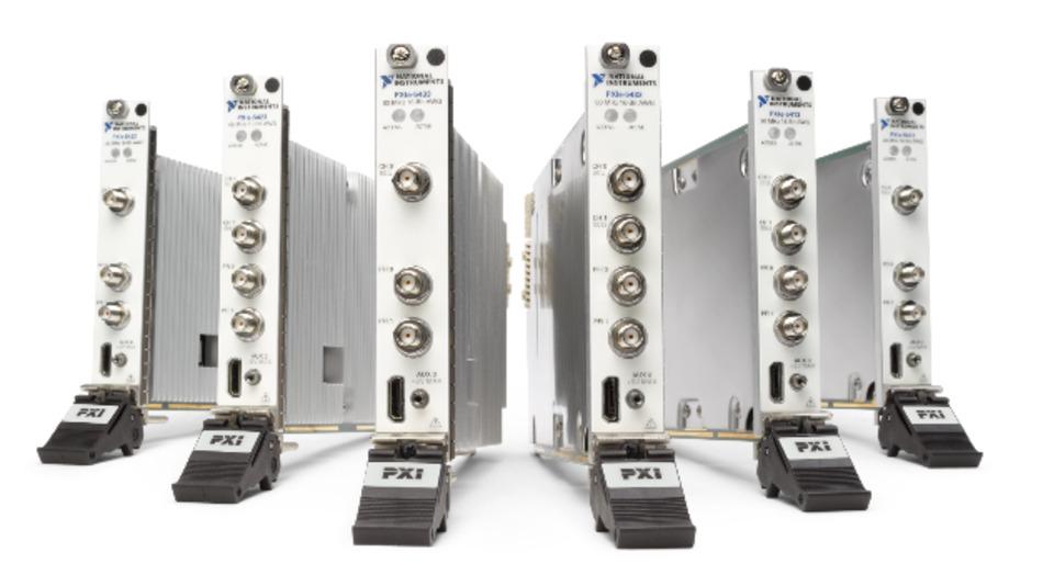 Die Arbiträrsignalgeneratoren der PXIe-54X3-Serie bieten 1 oder 2 Kanäle mit 20, 40 oder 80 MHz Bandbreite.