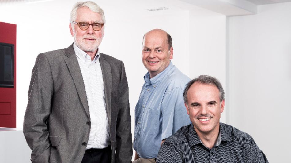 Unternehmensgründer Wilhelm Stemmer (links) mit den beiden Geschäftsführern Martin Kersting (Mitte) und Christof Zollitsch (rechts).