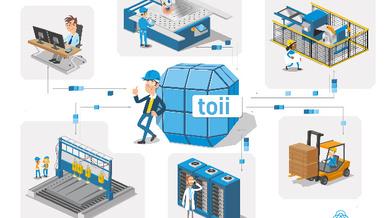 Die digitale Plattform toii ermöglicht sowohl den Datenaustausch und die Kommunikation von Maschinen untereinander als auch zwischen Maschinen und IT-Systemen.