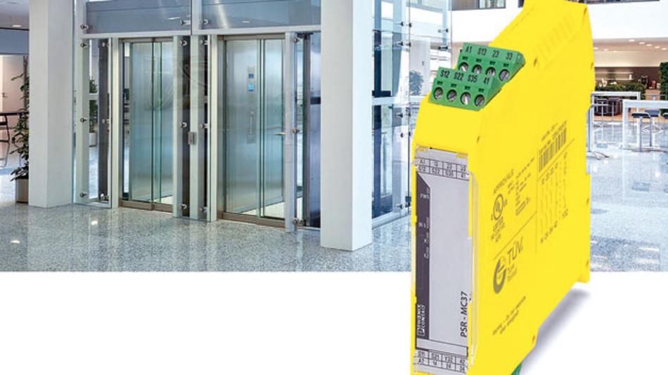 Phoenix Contacts Sicherheitsrelais PSR-MC37  genügt den verschärften Sicherheitsauflagen  beim Bau von Aufzügen gemäß EN 81-20.