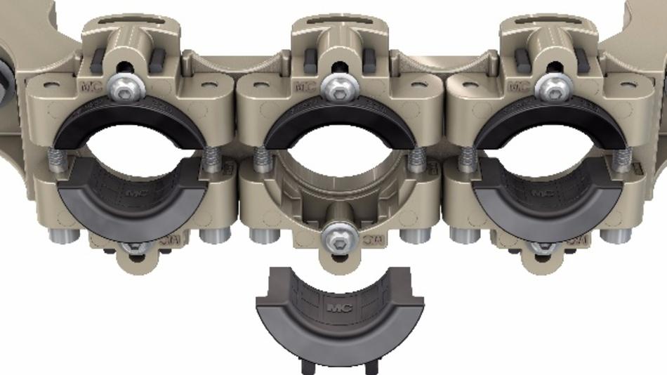 Dynamic Cable Option, kurz DCO. Kunststoff-Einleger sorgen dafür, dass Kabel mit unterschiedlichen Durchmessern gleich zuverlässig fixiert sind.