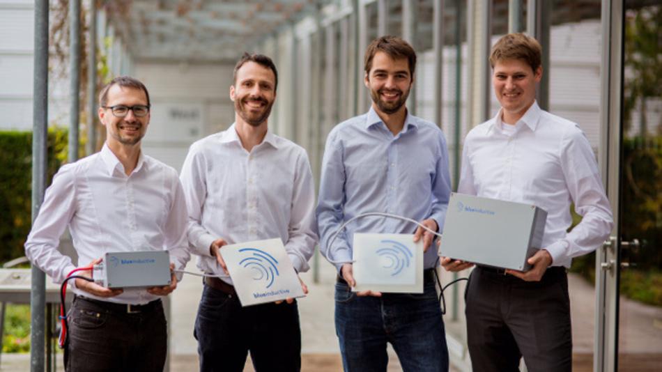 Die vier Gründer der Blue Inductive GmbH (v.l.n.r.): Florian Reiners, Geschäftsführer, Benriah Goeldi, Leiter Software Entwicklung, Johannes Tritschler, Leiter Hardware Entwicklung und Johannes Mayer, Geschäftsführer.