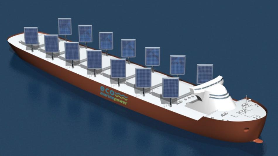 Ein mit festen Segeln auf Basis der EnergySail-Technik von EMP bestücktes Frachtschiff. So lassen sich Treibstoiffverbrauch und CO2-Emissionen drastisch senken.