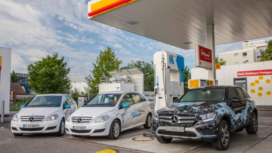Daimler, Shell und Linde eröffneten am 31. Juli 2017 zwei Wasserstofftankstellen in Sindelfingen und Pforzheim.