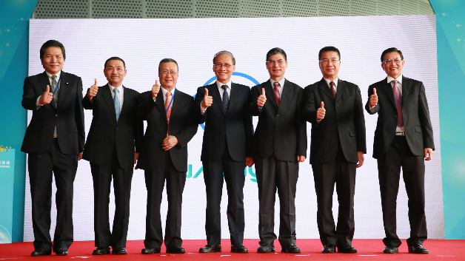 Das Management von Nanya anlässlich der Eröffnung des neuen Hauptsitzes des Unternehmens und der neuen 12-Zoll-Fab für die Produktion von DRAMs auf Basis von 20-nm-Prozessen auf 12-Zoll-Wafern