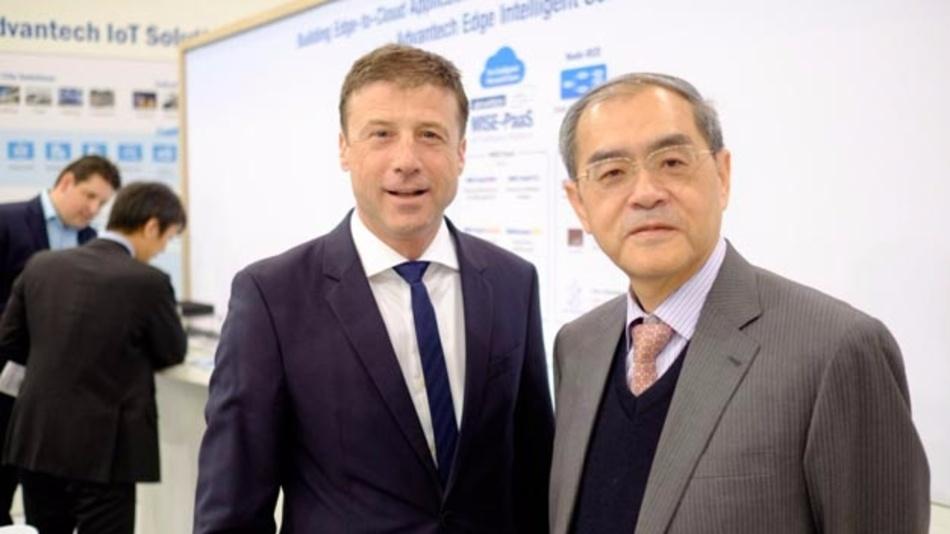 Hans-Peter Nüdling, Deutschland-Chef von Advantech und Ke-Cheng Liu, CEO von Advantech auf der embedded world 2017.