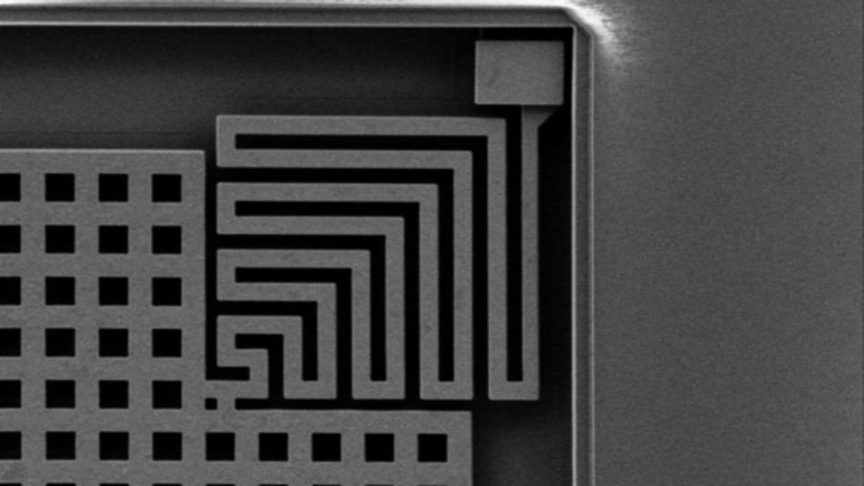 So sieht die Feder eines MEMS-Beschleunigungssensors bei viertausendfacher Vergrößerung im Elektronenmikroskop aus.