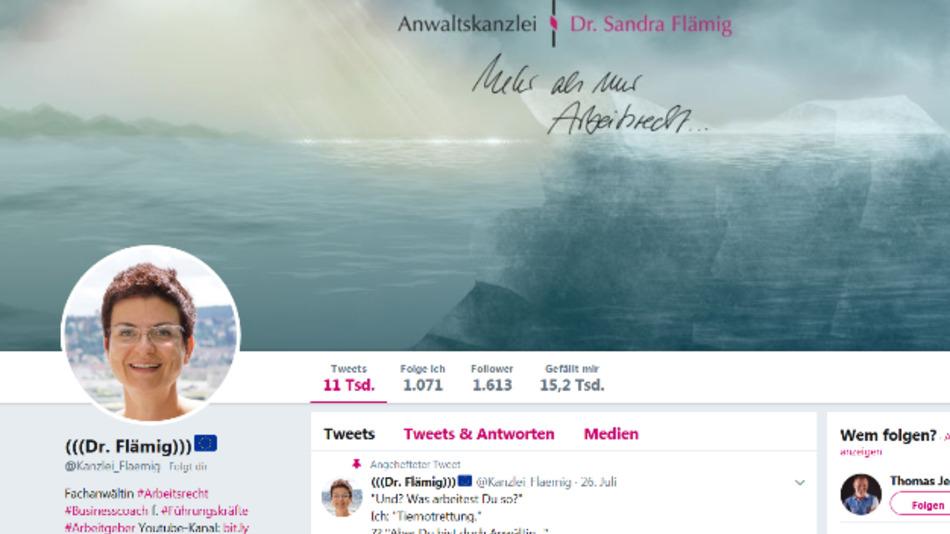 Rechtsanwältin Dr. Sandra Flämig, sie twittert u.a. zu Arbeitsrechts-Themen.