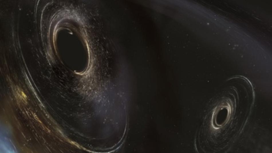 Verschmelzen zwei schwarze Löcher, entsteht nur mehr ein größeres alles auf nimmer wiedersehen fressendes schwarzes Loch. Und ein Beben – für uns nicht wahrnehmbar – erschüttert die Raumzeit. Sonst geschieht nichts. Die Illustration stammt vom Laser-Interferometer-Gravitationswellen-Observatorium, das Gravitationswellen, die beim Verschmelzen Schwarzer Löcher entstehen, kürzlich zum dritten Mal direkt nachgewiesen hat.