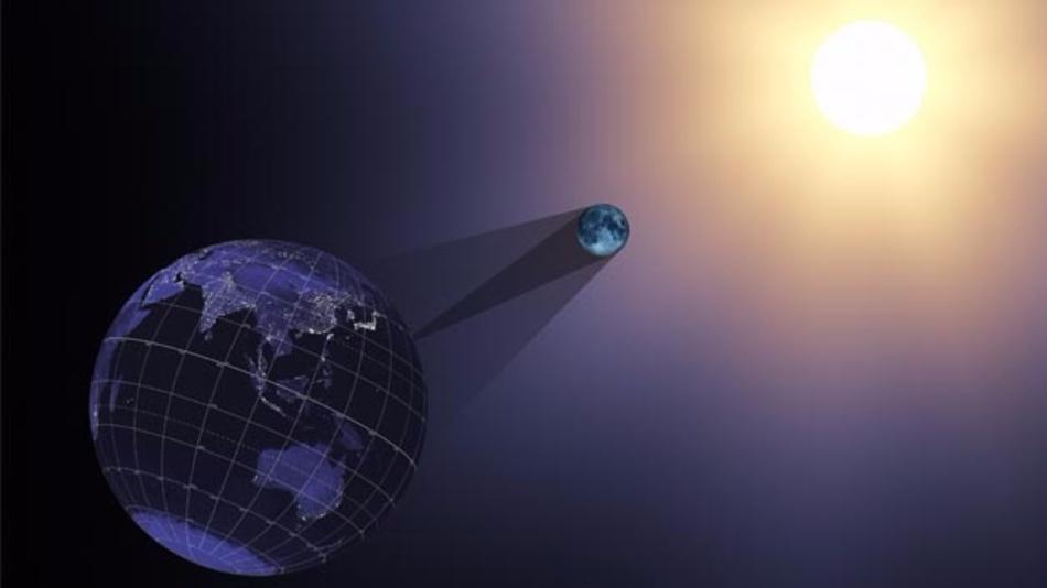 Sonnenfinsternis: Der Schatten des Mondes tifft auf die Erde.