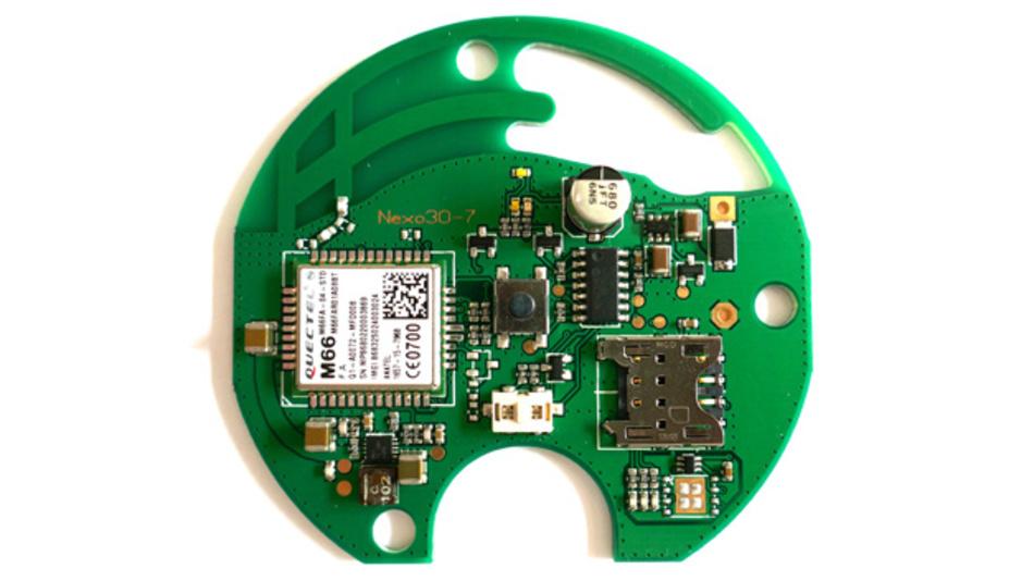Die Leiterplatte des IoT-Tasters von Gillette. Sie enthält ein GSM-Funkmodul, das auch gegen ein Pin-kompatibles LTE-Cat-NB1-Funkmodul getauscht werden kann.