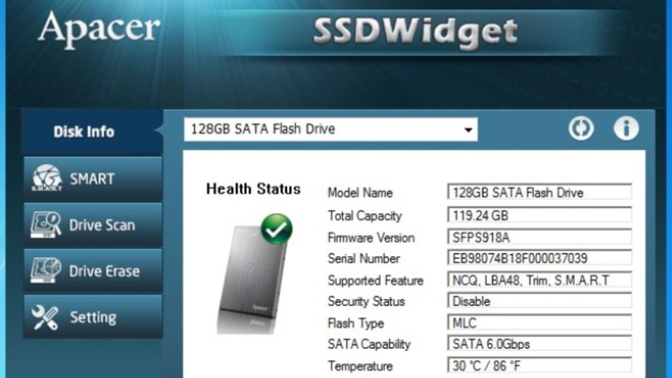 Informationsoberfläche des SSDWidget