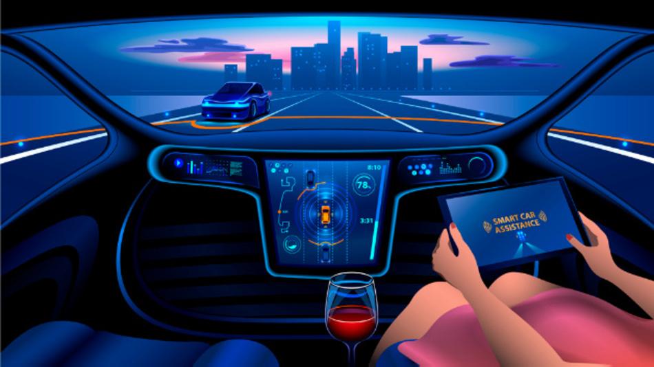 Infotainment in einem Fahrzeug der Zukunft.