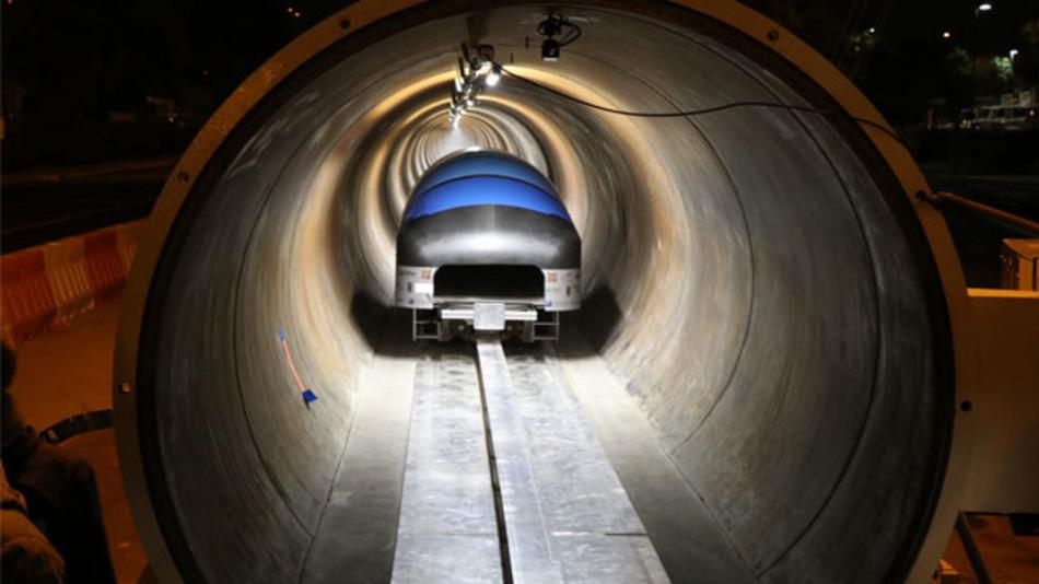 Dieser Pod der TU München erreichte in der Hyperloop-Teströhre eine Geschwindigkeit von 324 km/h.