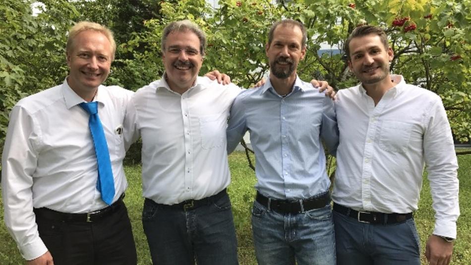 Aktueller und künftiger Vorstand der PHYTEC Technologie Holding AG (v.l.n.r.): Michael Mitezki, Bodo Huber, Christian Waidner, Daniel Neubecker.