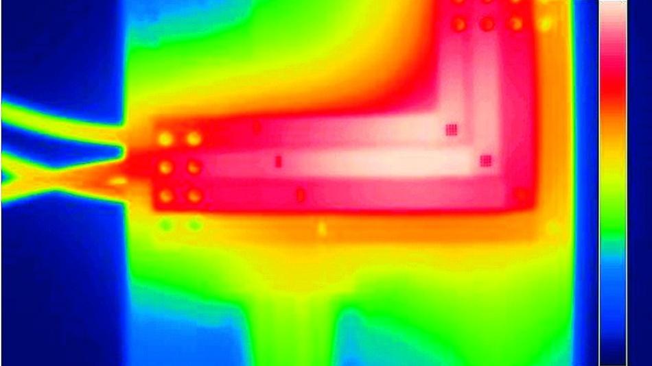 Bild 2. Die Thermographie zeigt es deutlich: Integrierte Kupferelemente der Leiterplattechntechnik HSMtec sorgen für ein effizientes Wärmemanagement und eine optimiert ausgelegte Anschlusstechnik für einen sicheren Anschluss.