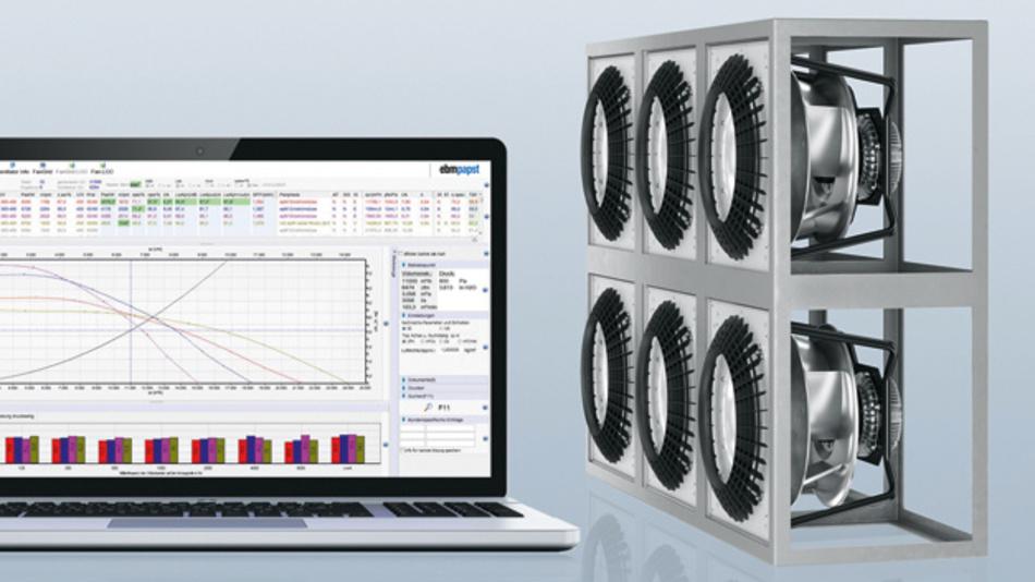 Bild 1: Mit dem Auswahlprogramm FanScout von ebm-papst lässt sich die wirtschaftlichste Ventilatorkombination ermitteln – auch für Fan Grids.
