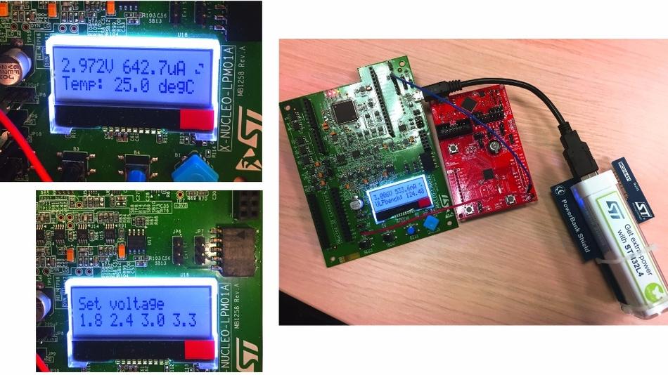 Bild 2: Über ein LC-Display können Messdaten abgelesen (links oben), Einstellungen wie die Versorgungsspannung vorgenommen (links unten) und Benchmark-Ergebnisse angezeigt werden (rechts).