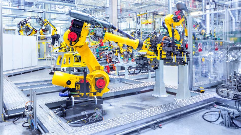 Fertigungsstraße mit interagierenden Robotern