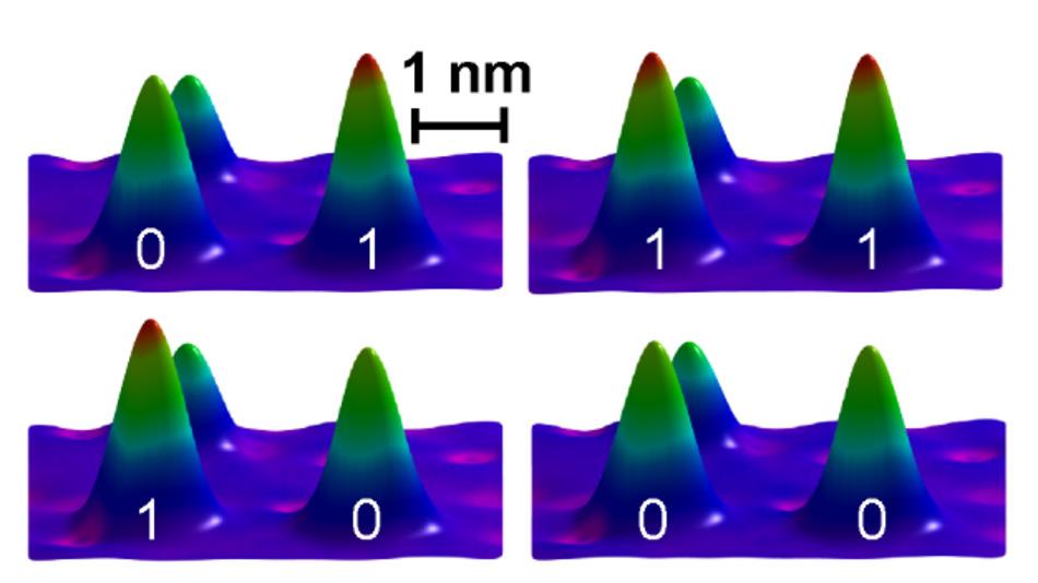 Darstellung des konstruierten magnetischen Bits aus nur drei Eisenatomen auf einer Platinoberfläche