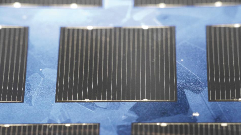 Die multikristalline Silizium-Solarzelle mit 22,3 % Wirkungsgrad.