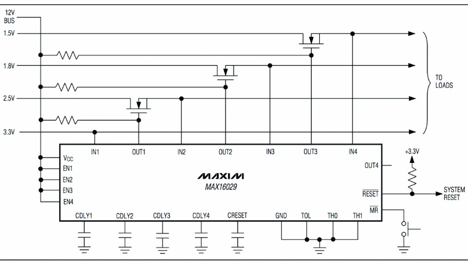 Bild 2: Der MAX16029 von Maxim Integrated verwendet Kondensatoren zur Programmierung der Zeitverzögerungen für vier unabhängige Kanäle und unterstützt DC-Spannungen mit bis zu 28 V.