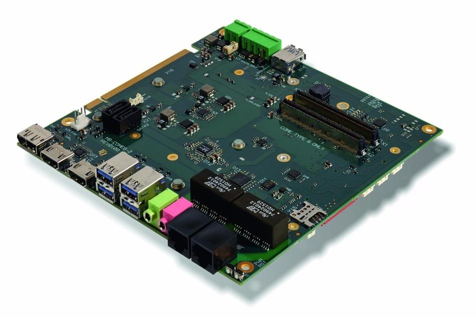 Bild 3:Mit dem Carrierboard MB-COME6-2 von TQ lassen sich unterschiedliche High-Speed-Schnittstellen und Speichermedien für COM-Express-Basic-Module evaluieren.