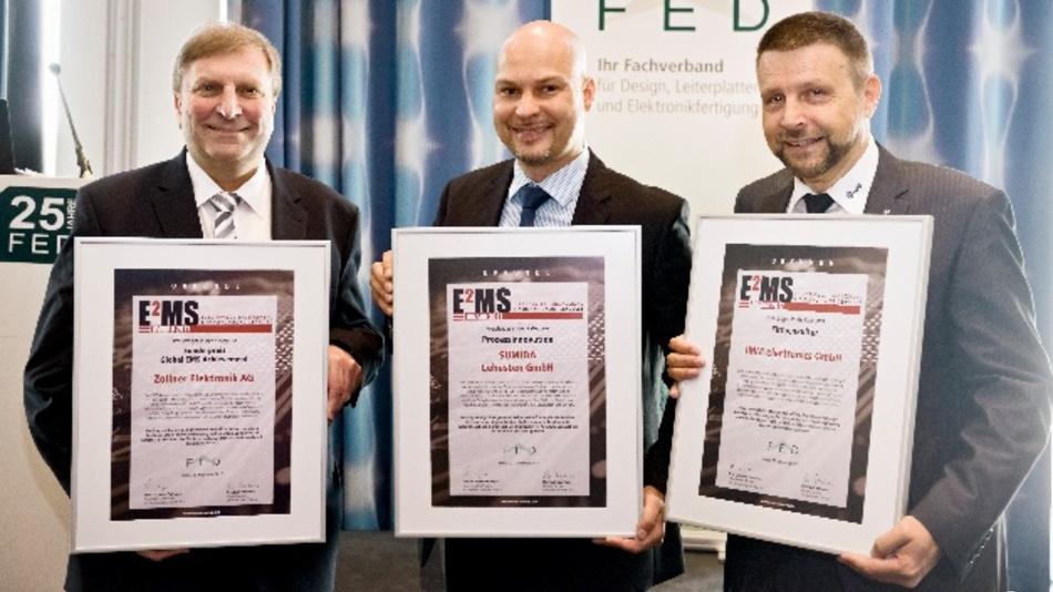 Die Unternehmensvertreter bei der Verleihung der E²MS-Awards (v.l.n.r.): Johann Weber, Vorstandsvorsitzender Zollner Elektronik, Henryk Zühlsdorff, Vertriebsmitarbeiter Sumida Lehesten, Professor Detlev Müller, Gründer IMM electronics