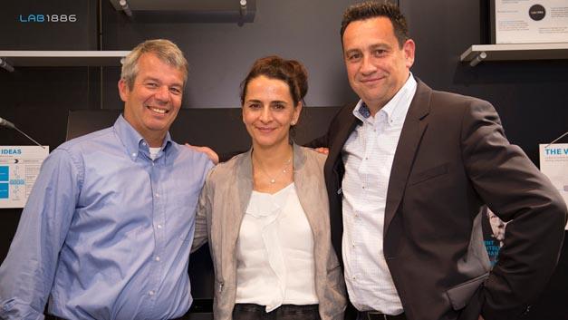 Daimler kauft Flinc: Dr. Klaus Dibbern, Gründer Flinc, Susanne Hahn, Leiterin Lab1886 und Jörg Lamparter, Head of Mobility Services & CEO moovel Group (v.l.n.r.).