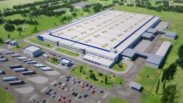 Werksansicht des zweiten ukrainischen Leoni-Werks, das bis zum Jahr 2020 auf eine Fläche von 25.000 m2 ausgebaut werden soll.