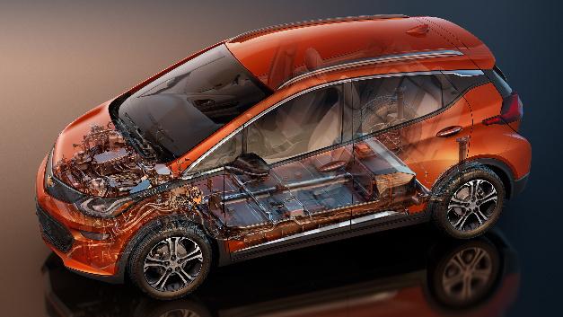 Der Chevrolet Bolt EV von General Motors. Auf seiner Basis will GM  über die nächsten 18 Monate zwei neue E-Auto-Tyxpen vorstellen. Bis 2023 sollen 20 Typen entwickelt werden.