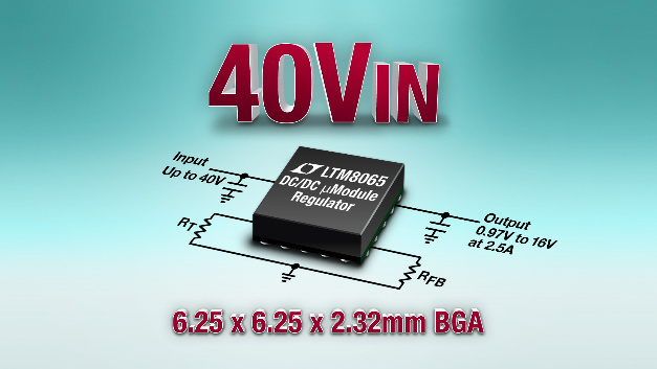 40-VIN/2,5-A-µModule-Regler benötigt nur vier externe Bauteile.