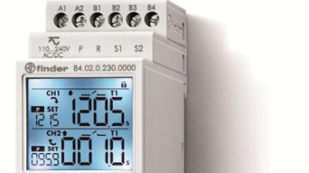 Finders digitales Zeitrelais der Serie SMARTimer 84 bietet zwei getrennt programmierbare Kanäle.