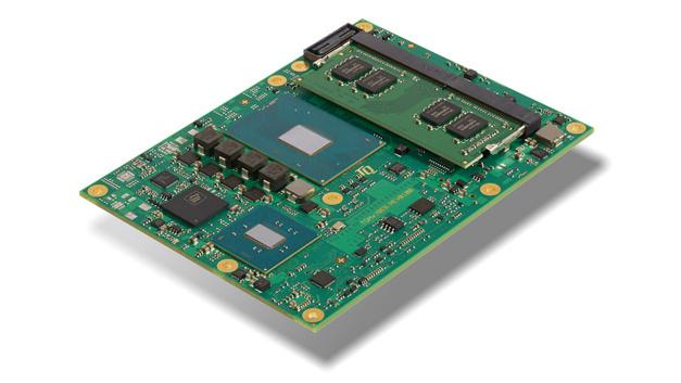 Bild 1: High-End-COM-Express-Basic-Modul TQMx70EB von TQ mit Intels Core-Prozessoren der 7. Generation (Kaby Lake-H) und bis zu 32 GB DDR4-2400 Speicher.