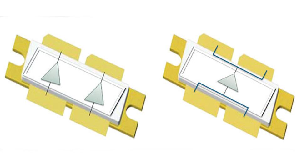 Bild 2. Vergleich eines Hochleistungstransistors im Gemini-Package (links) und eines massebezogenen 1600-W-Transistors (rechts).