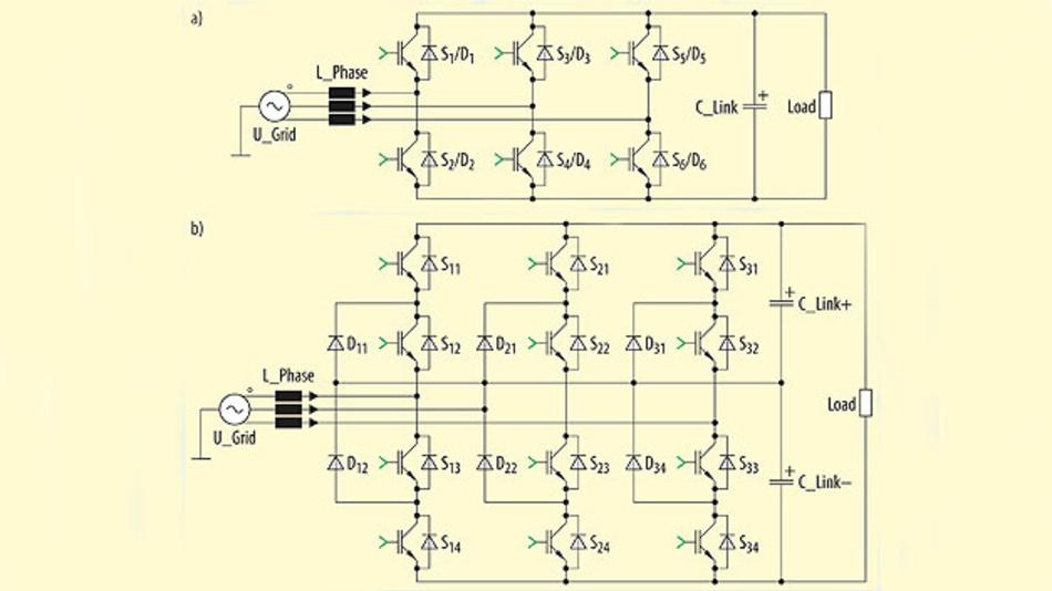 Bild 2. Zweistufiger 6-Schalter-IGBT-Gleichrichter (a) und dreistufiger NPC-Gleichrichter (b).