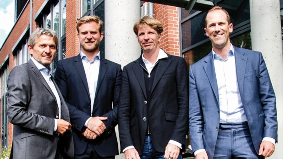 Matthias Fricke (G&F), Elias Tuerk (Afinum), Manfred Garz (G&F), Kai Roolf (Afinum) (v.l.n.r.)