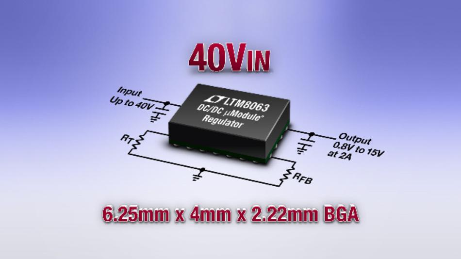 Der 2A-Silent-Switcher-µModule-Regler benötigt nur vier externe Bauteile.