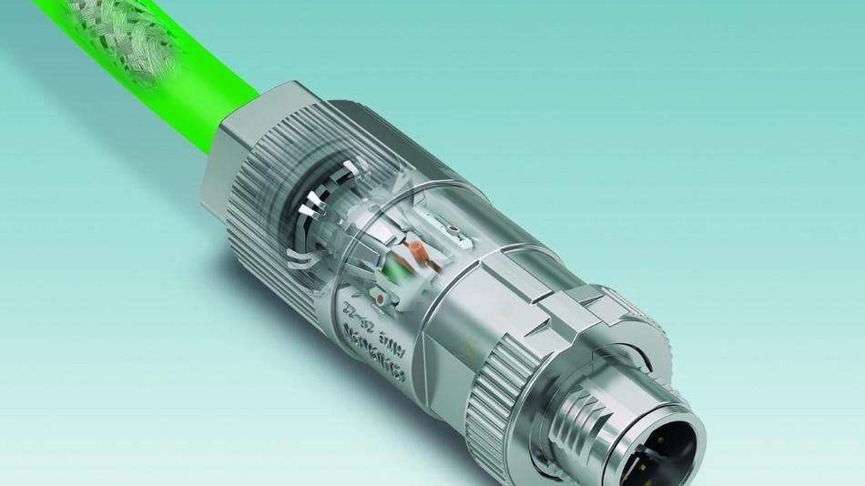 Bild 3: Bei geschirmten konfektionierten M12-Steckverbindern ermöglicht die großflächige Kontaktierung der Leitung zuverlässige Verbindungen.