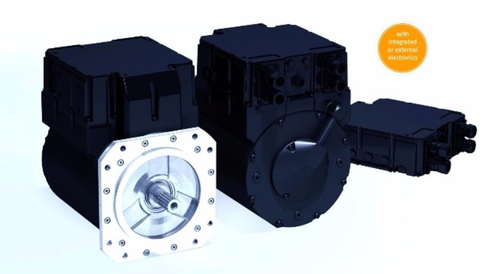 """Das Antriebskonzept """"powerMELA"""" von Baumüller umfasst einen Permanentmagnet-Synchronmotor und einen Wechselrichter für den Vierquadranten-Betrieb."""