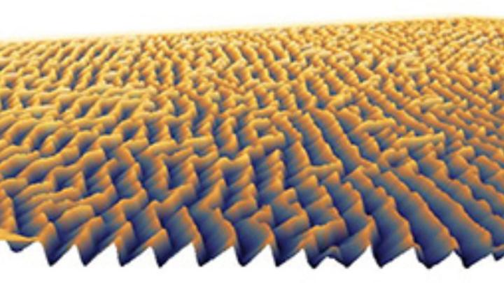 Topographiebild des Nanoprägestempels eines computergenerierten 3D-Hologramms, der mit dem NanoFrazor von SwissLitho hergestellt wurde. Stempel wie dieser können zur Replikation von 3D-Strukturen in der Großserienfertigung mit dem HERCULES NIL Nanopr