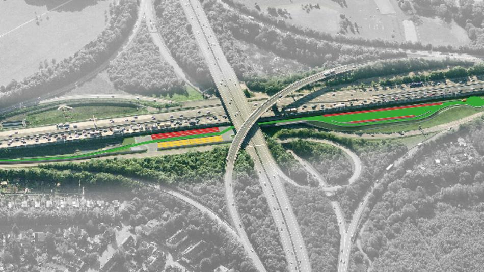 Das duraBASt im Autobahnkreuz Köln-Ost mit Demonstrations- (rot), Untersuchungs- (gelb) und Referenzabschnitten (grün).