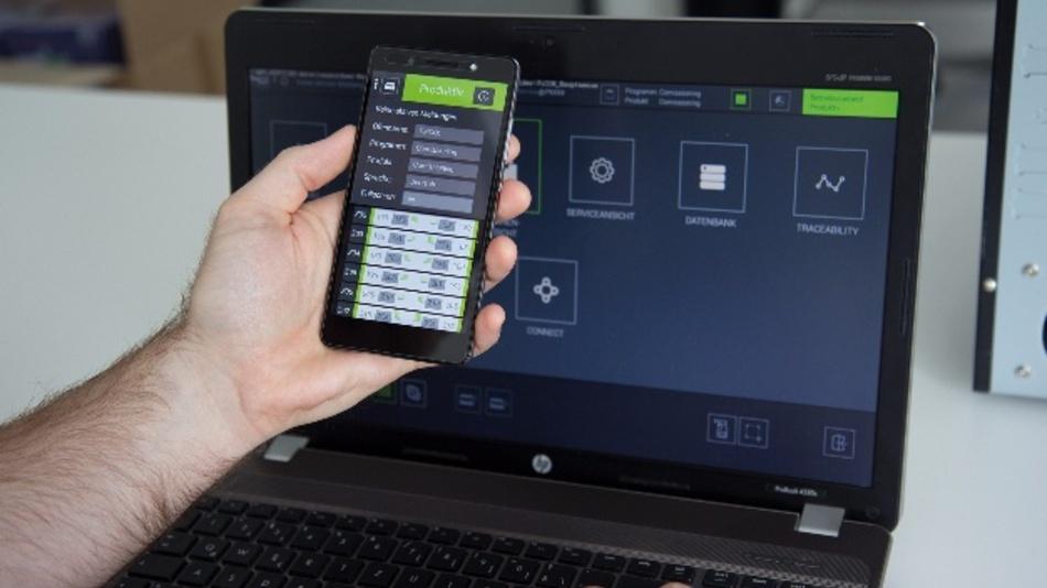 ViCON Software-Bedienoberfläche und ViCON App.