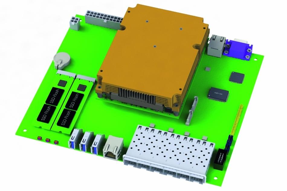 Bild 1: Das Flex-ATX-Board mit bis zu sechs GbE-Schnittstellen als SFP+ Module und Board-Management-Controller für umfassende Onboard-Virtualisierung ist eines der ersten Baseboards auf Basis von COM-Express-Typ-7.