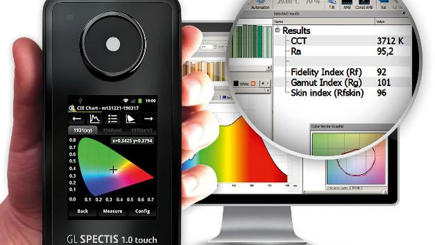 Mit einem Spektrometer von GL Optic können Lichtquellen gemessen werden. Die Analysesoftware GL Spectrosoft Pro bestimmt unter anderem den Color Fidelity Index Rf.