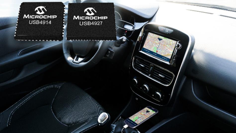 Die USB-2.0-Smart-Hub-ICs von Microchip bringen das Infotainment vom Mobilgerät ins Kraftfahrzeug.
