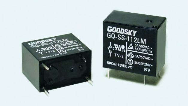 Bild 1. Das Miniatur-Leistungsrelais GQ von Goodsky (Vertrieb CODICO) kommt mit einem zulässigen Schaltstrom von maximal 12A auf den Markt.