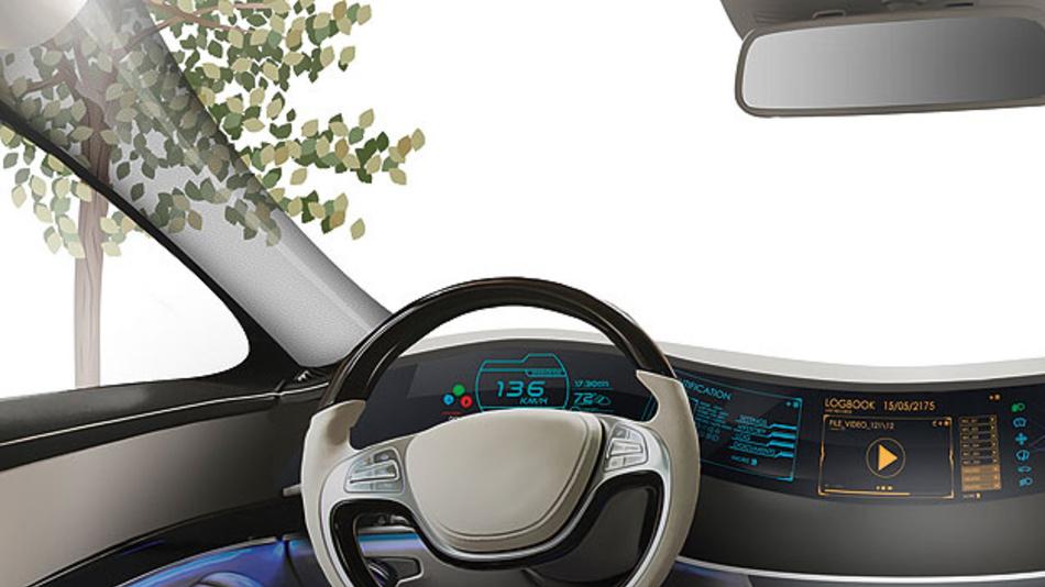 Bild 1. Konzept der unsichtbaren A-Säule. Die tragende Säule links neben der Windschutzscheibe wirkt für den Fahrer transparent und erweitert sein Sichtfeld. Das angepasste Rundum-Display erhält die Bildinformation von einer externen Kamera.
