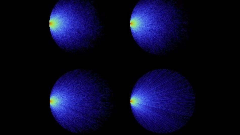 Simulationsergebnisse für Lichtpfade in kreisförmigen Scheiben mit unterschiedlicher Trübung. Das Licht trifft von links auf das Medium mit vielen verschiedenen Einfallswinkeln.